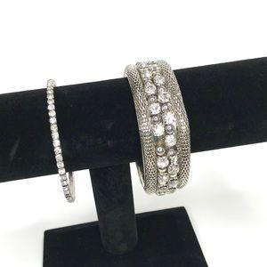 Crystal Stone Silver Bangle Bracelet 2Pc. Set